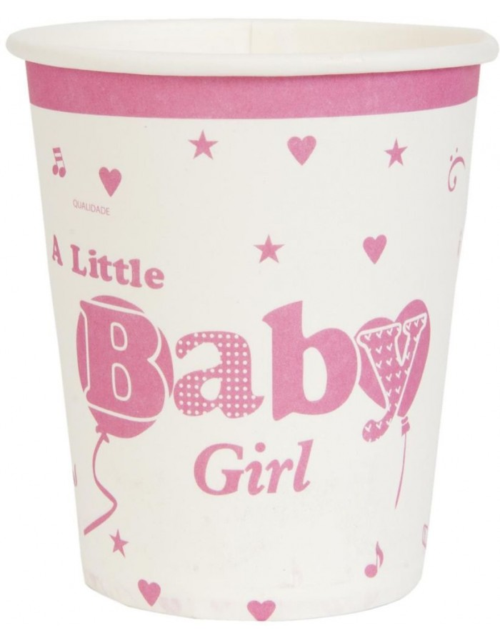 paper cups BABY GIRL pink 8 cm