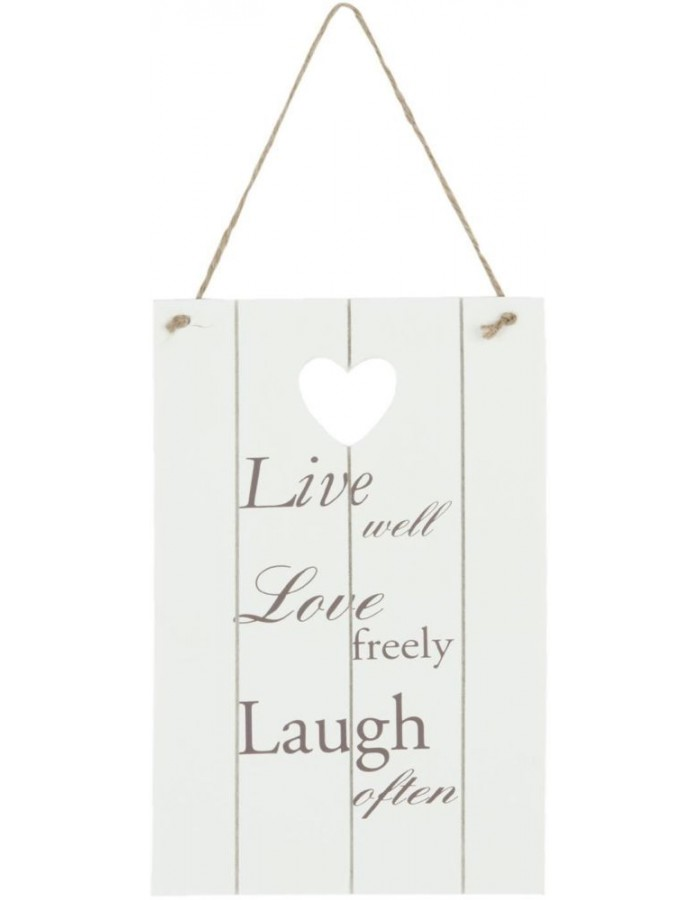 6H0829 Clayre Eef - LIVE LOVE LAUGH wall decoration white