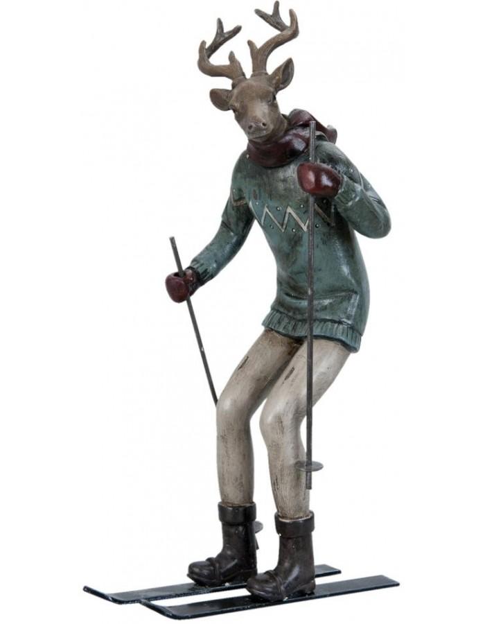 Dekofigur ski reindeer of Clayre Eef of polyresin  6PR0646