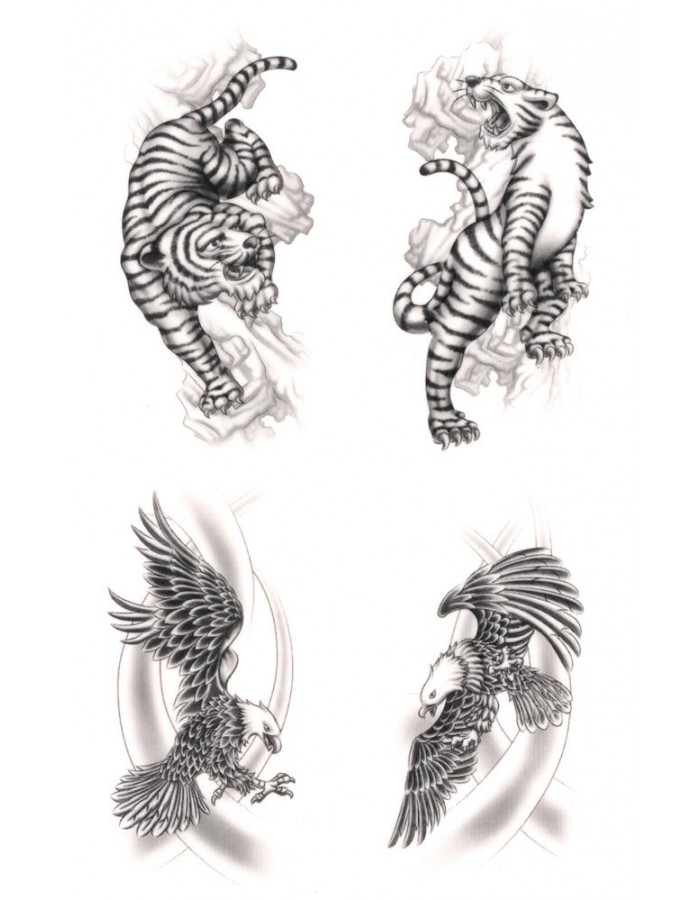 921d89ad11061 Tattoos Eagle & Tiger, waterproof, Black Art Classic