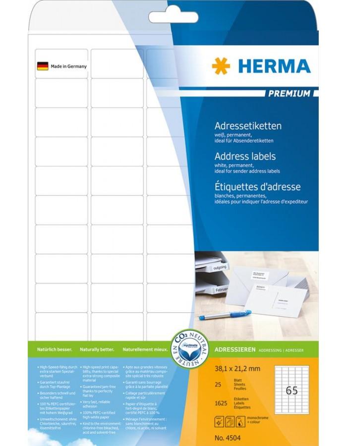 Adressetiketten Premium A4 38,1x21,2 mm runde Ecken weiß Papier