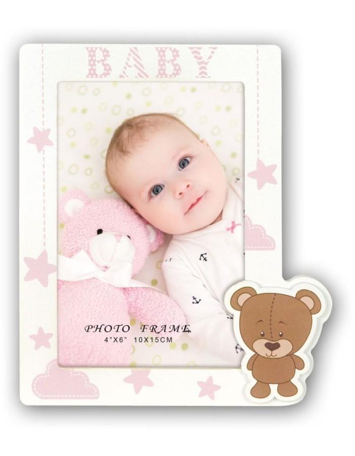 Baby Bilderrahmen Aron rosa 10x15 cm | fotoalben-discount.de