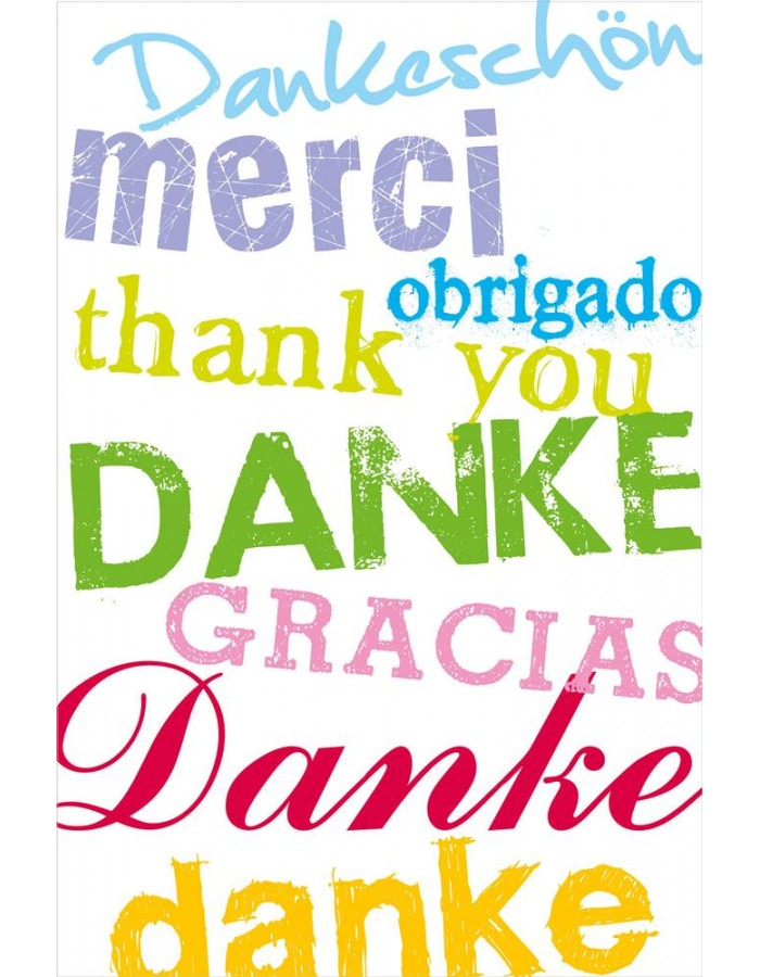 Artebene Karte Folie/Danke/Merci/Thank you