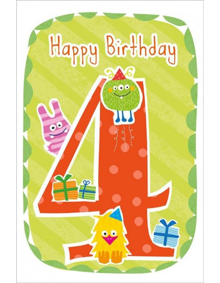 Artebene Karte Happy Birthday Kids 4 Jahre Grun ARTEBENE
