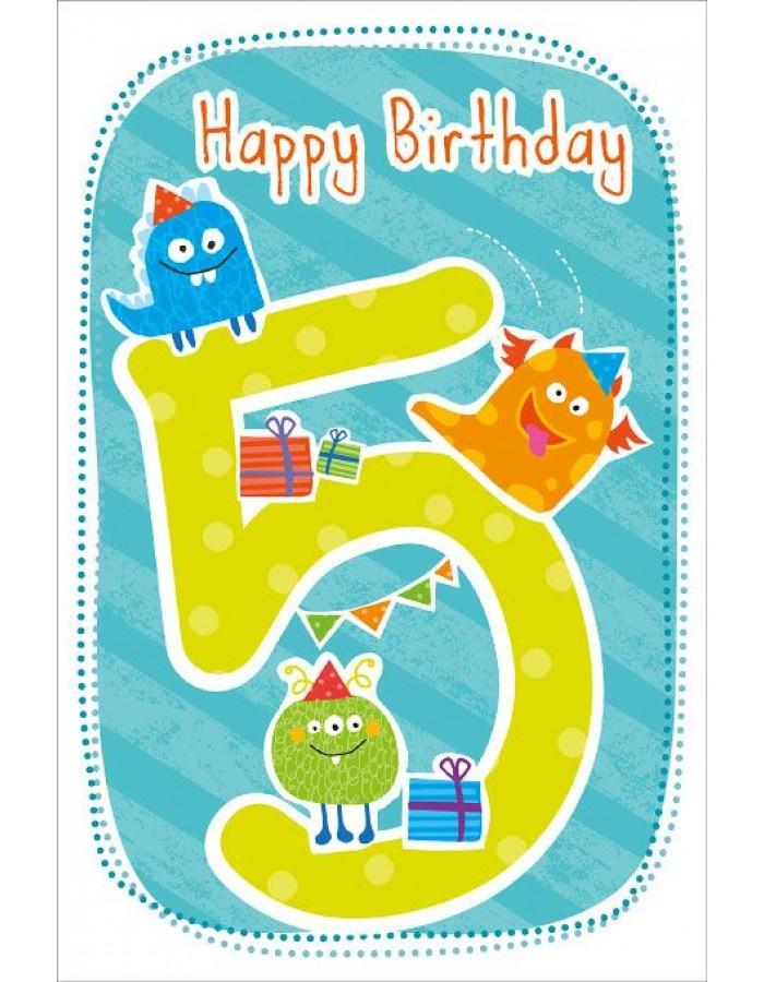 Artebene Karte Happy Birthday Kids 5 Jahre Bleu