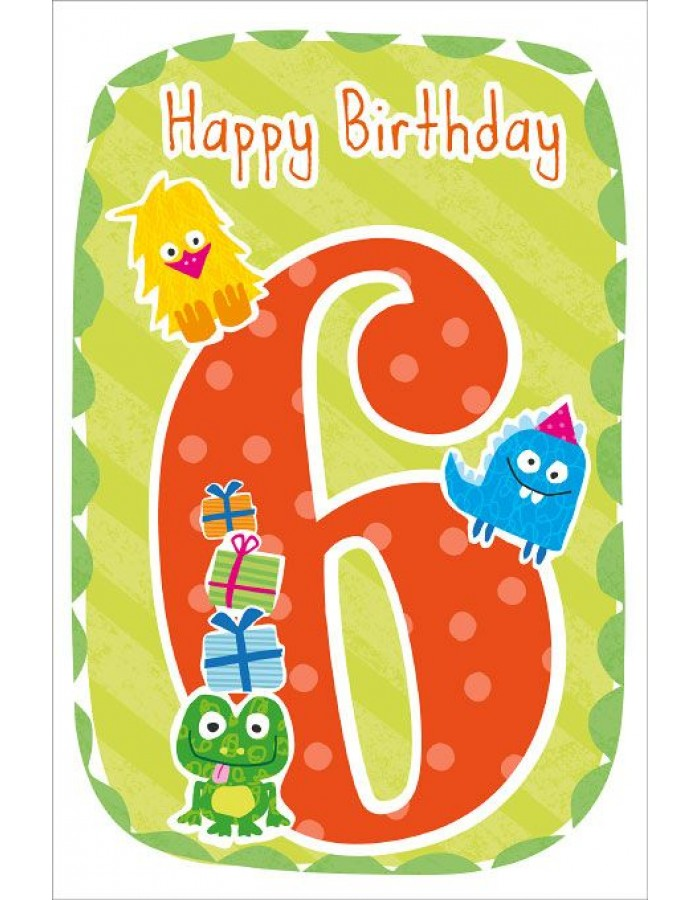 Artebene Karte Happy Birthday Kids 6 Jahre Grun