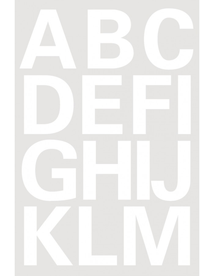 Letters 25mm A-Z film weatherproof white  2 sheets