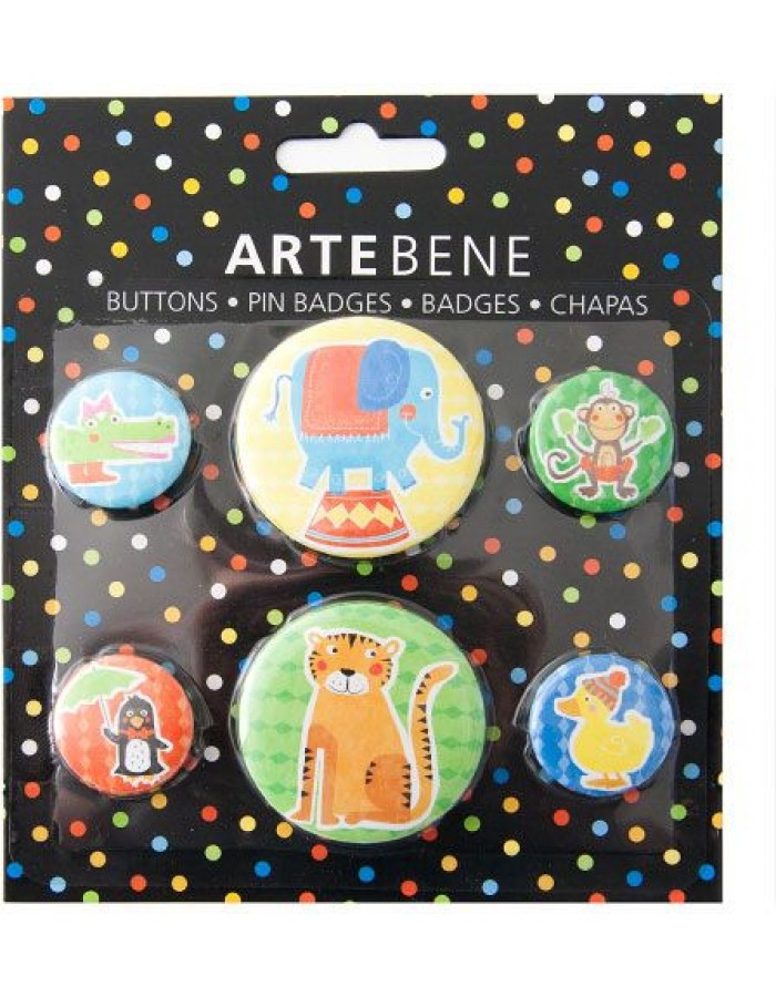 Buttons 6 pieces circus animals