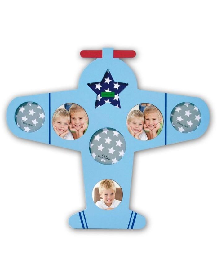 Kinder Bilderrahmen hellblau als Flugzeug gestaltet DANTE