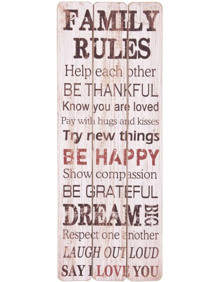Deco picture of MDF 30 x 80 cm 5H0070 Family Rules