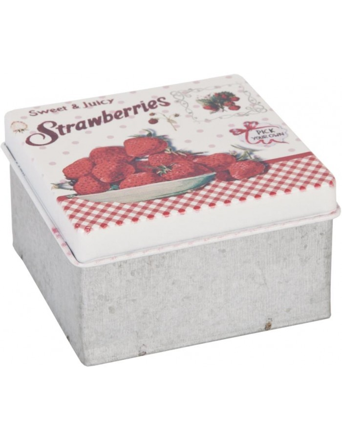 Deko Dose STRAWBERRIES 7x7x4 cm