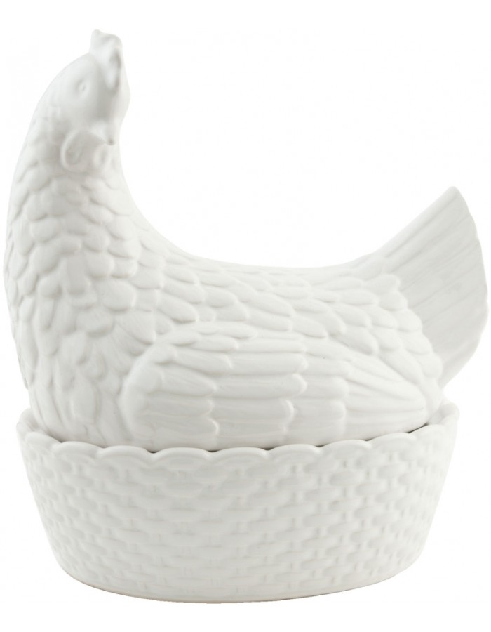 Decorative box sitting chicken 25x18x26 cm white