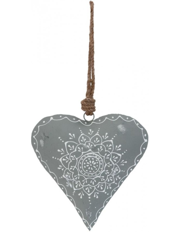 decoration pendant HEART grey - 6Y1644M Clayre Eef