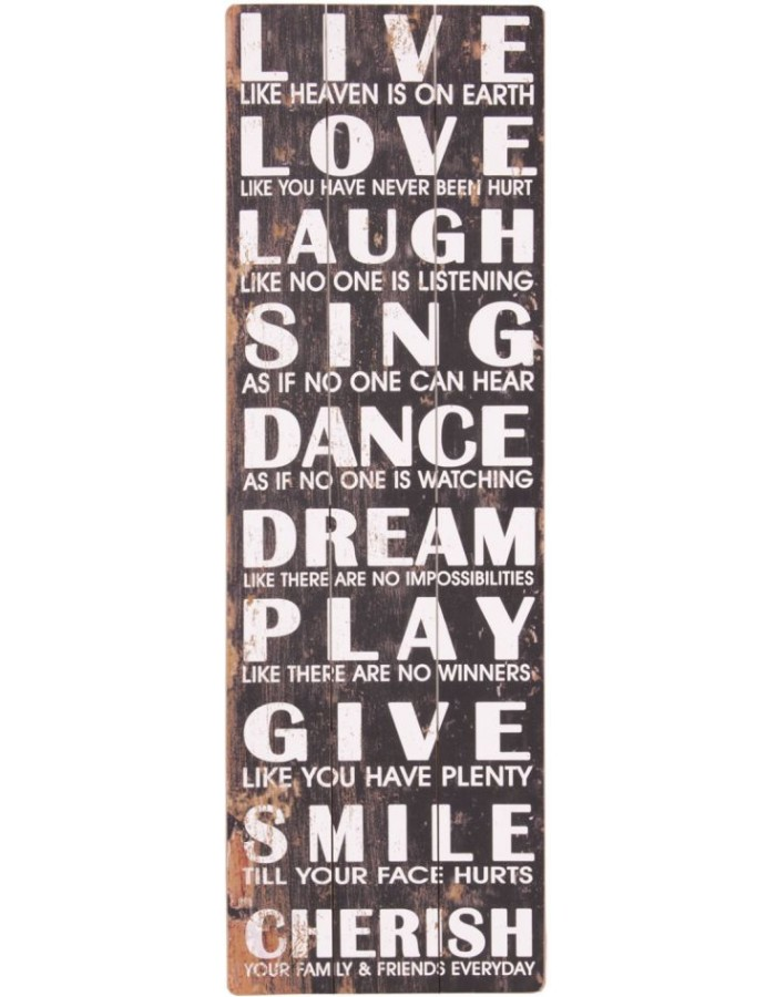 Dekoration Bild Live Love Laugh Sing 33x100 cm