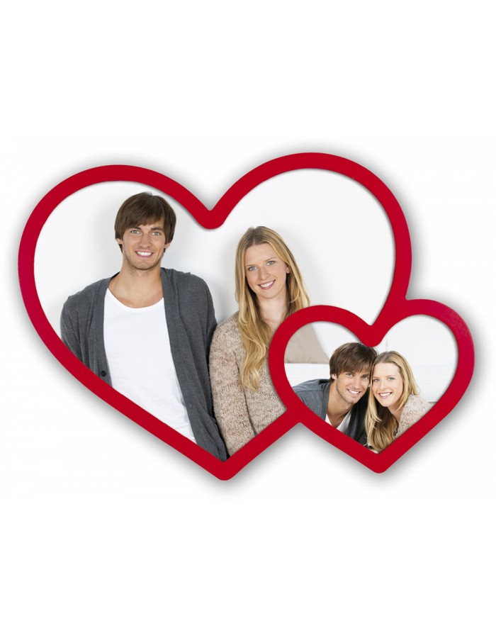 Double frame with red hearts - Angela