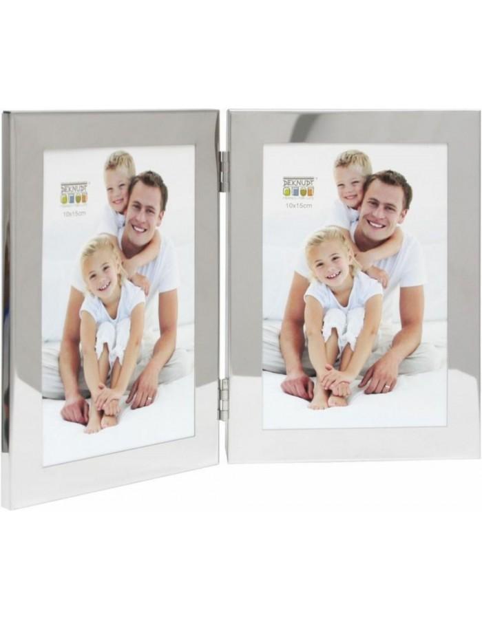 Deknudt Doppelrahmen S67AH1 silber 10x15 cm | fotoalben-discount.de