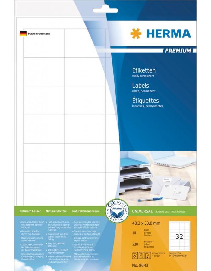Labels white 48,3x33,8 Premium A4 320 pcs