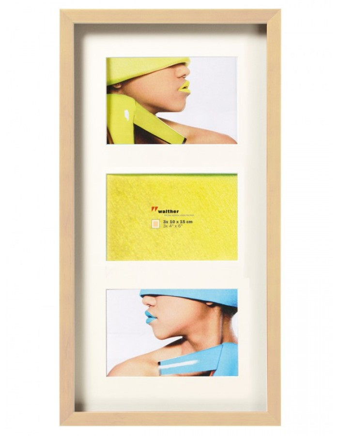 Fashion 3D gallery frame 3 photos 10x15 cm cream