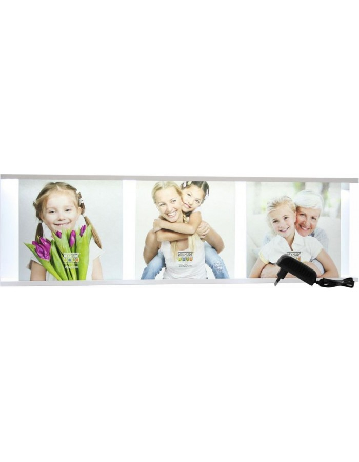 photo box for 3 pictures 20x20 cm with LED strip