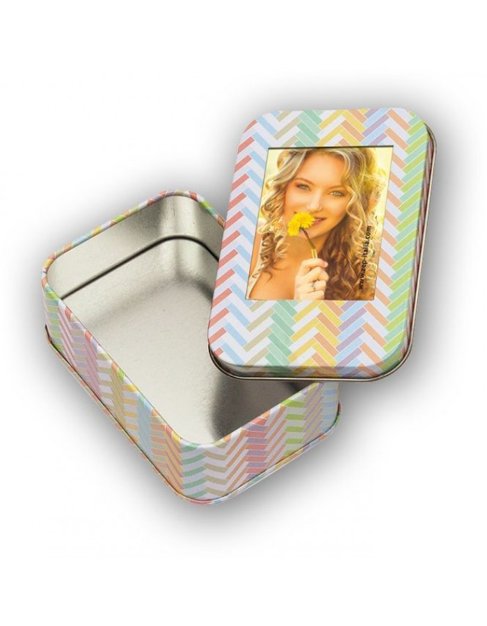 Metal box with picture frame