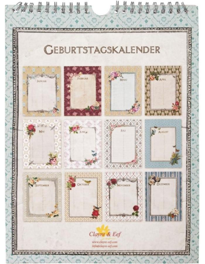 geburtstagkalender mit ornamenten deutsch. Black Bedroom Furniture Sets. Home Design Ideas