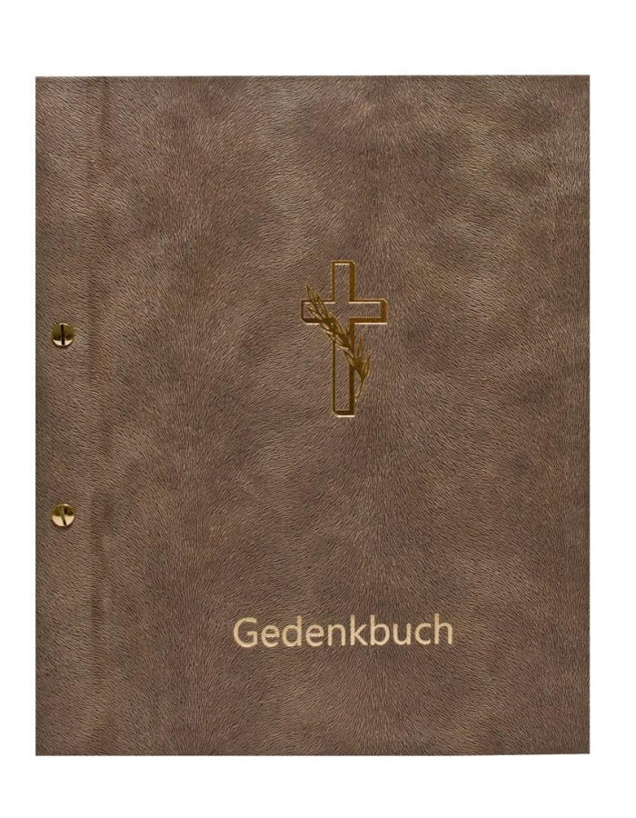Condolence book cross in taupe