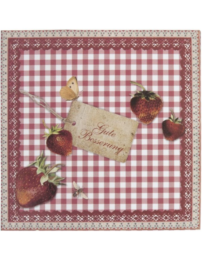get well card with strawberries German 13,5x13,5 cm