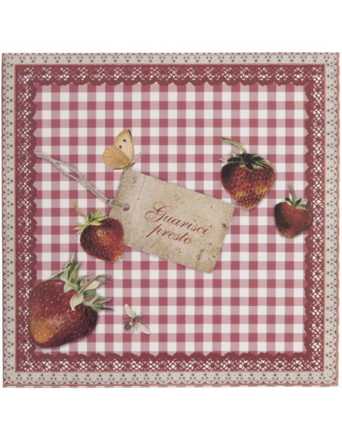 get well card with strawberries Italian 13,5x13,5 cm