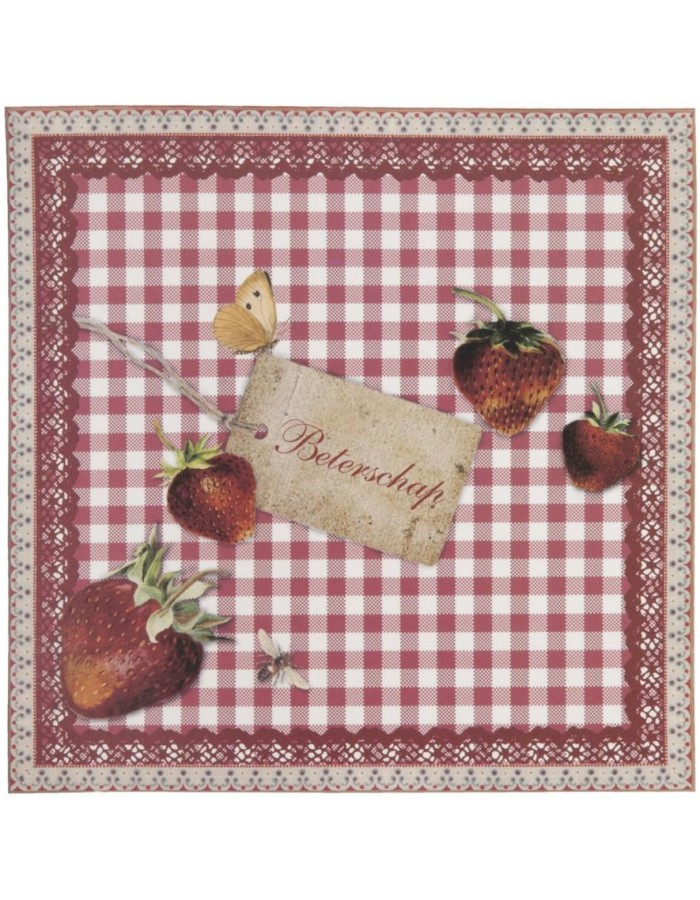 get well card with strawberries Dutch 13,5x13,5 cm