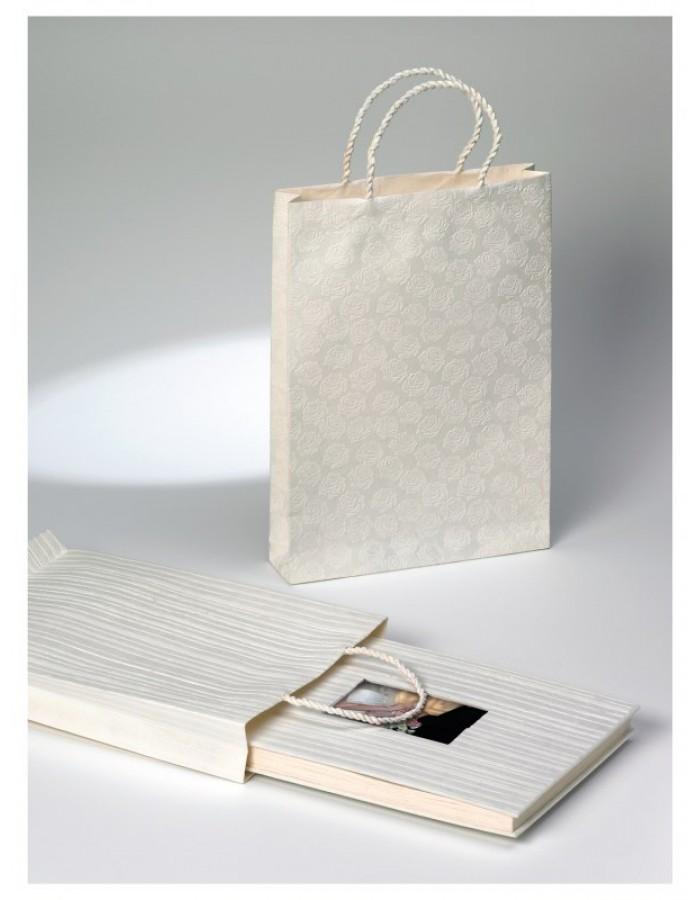 Gift bag WEDDING STRIPES - white