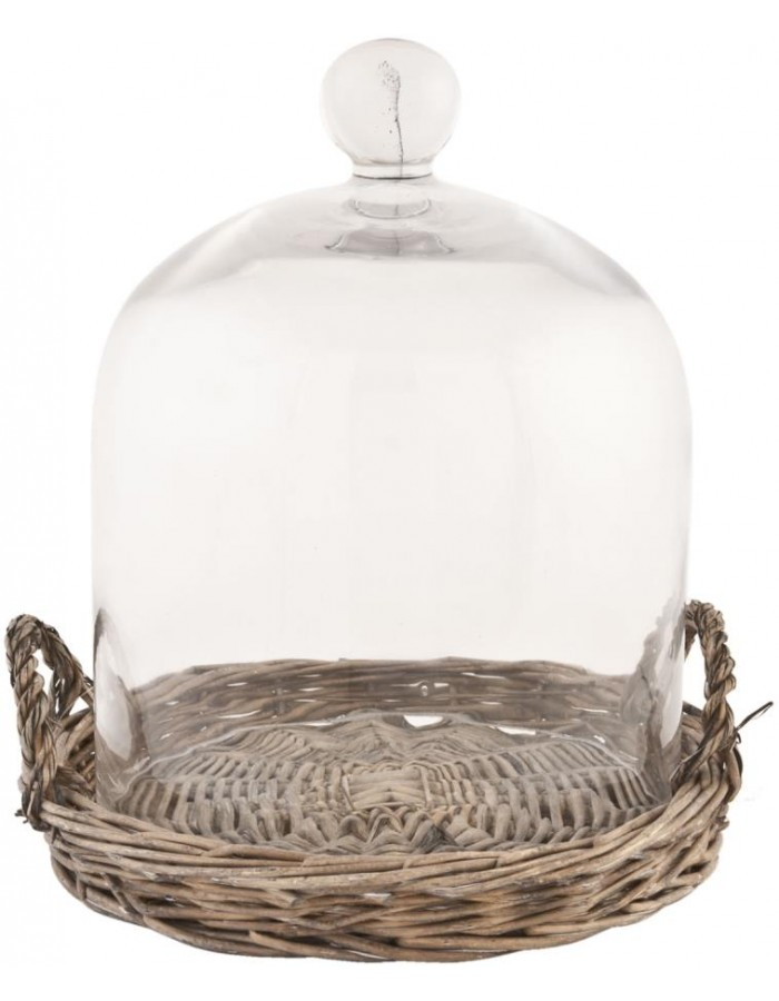 Glass cake bell with basket Ø 20 x 25 cm