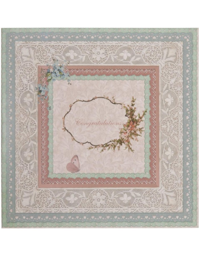 nostalgic greeting card with lace English 13,5x13,5 cm