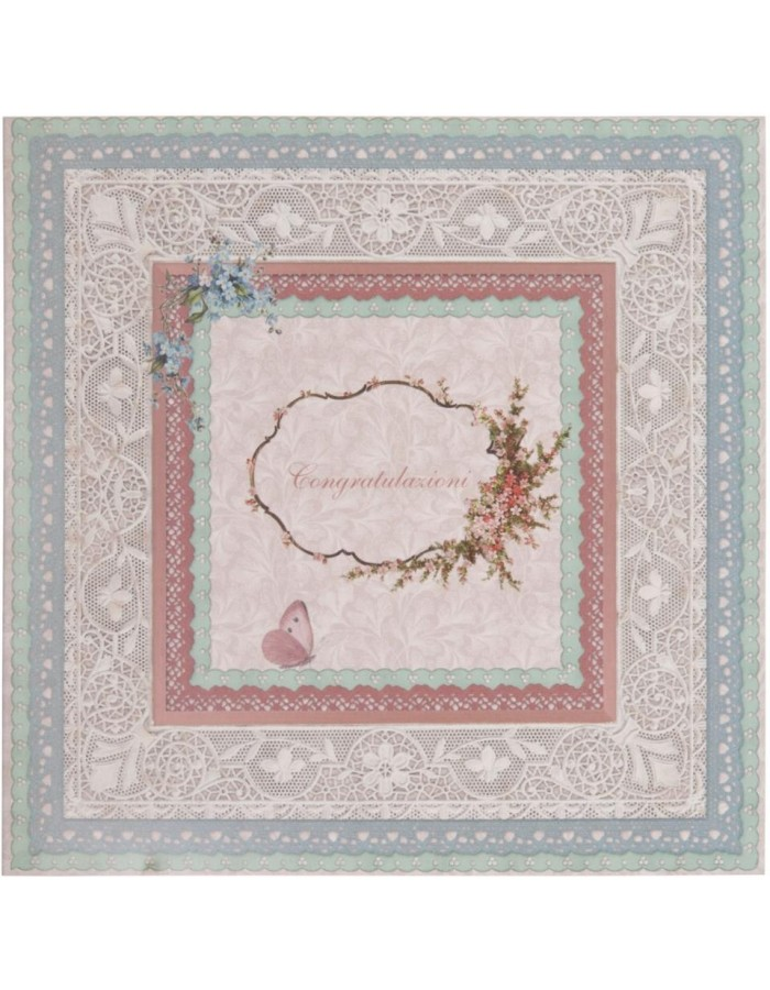 nostalgic greeting card with lace Italian 13,5x13,5 cm