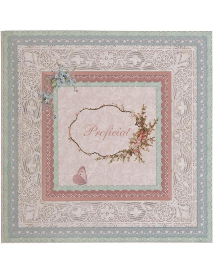 nostalgic greeting card with lace Dutch 13,5x13,5 cm