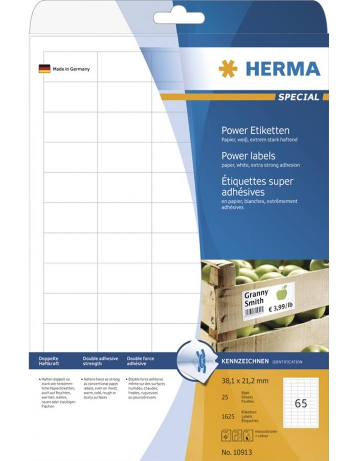 HERMA Labels 38,1x21,2 A4 Power labels 1625 pcs.