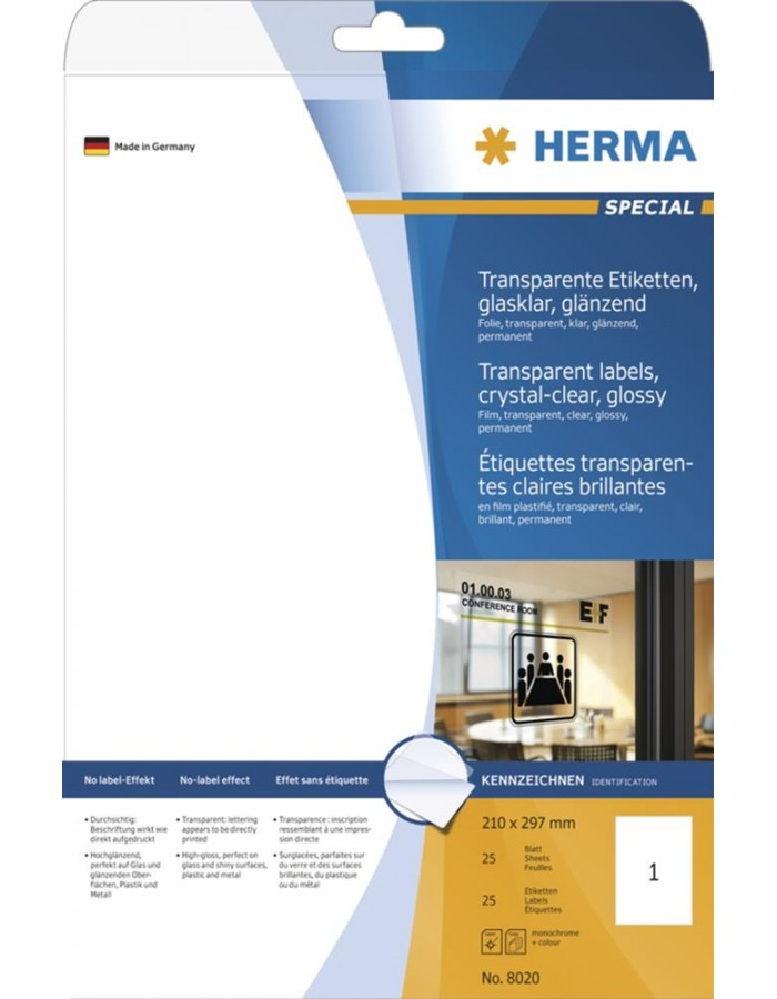 HERMA Labels transparent crystal-clear  A4 210x297 mm transparent clear film glossy 25 pcs.