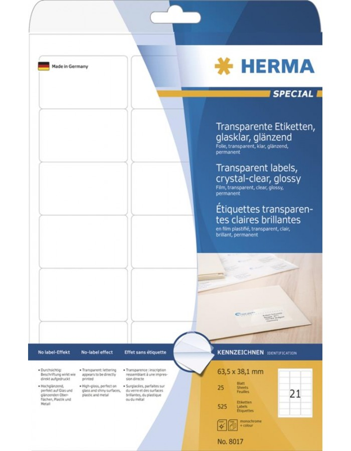 HERMA Labels transparent crystal-clear A4 63,5x38,1 mm transparent clear  film glossy 525 pcs