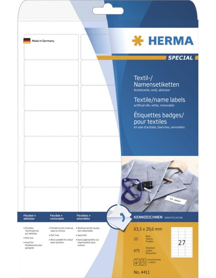 HERMA Name labels A4 63,5x29,6 mm white removable artificial silk 675 pcs.