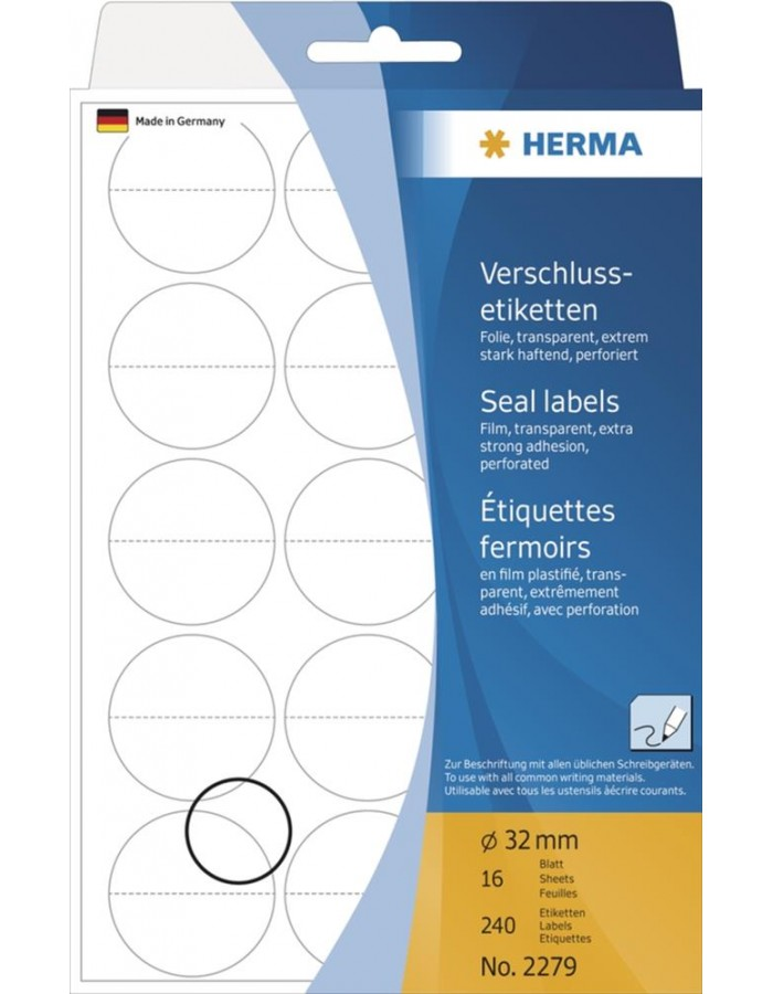 HERMA Seal labels perforated Ø 32 mm round transparent extra strong adhesion film matt 240 pcs.