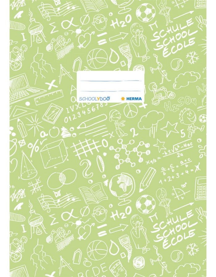 Exercise book cover A4 SCHOOLYDOO, light green