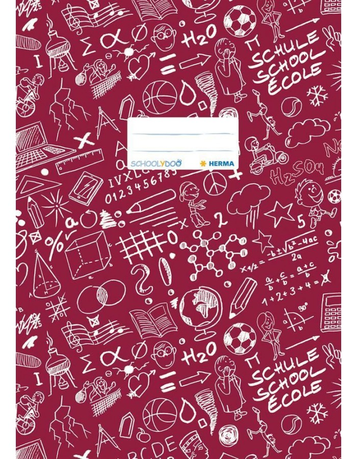 Excercise book cover A4 SCHOOLYDOO, winered