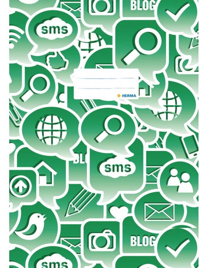 Exercise book cover A4 Social Icons green