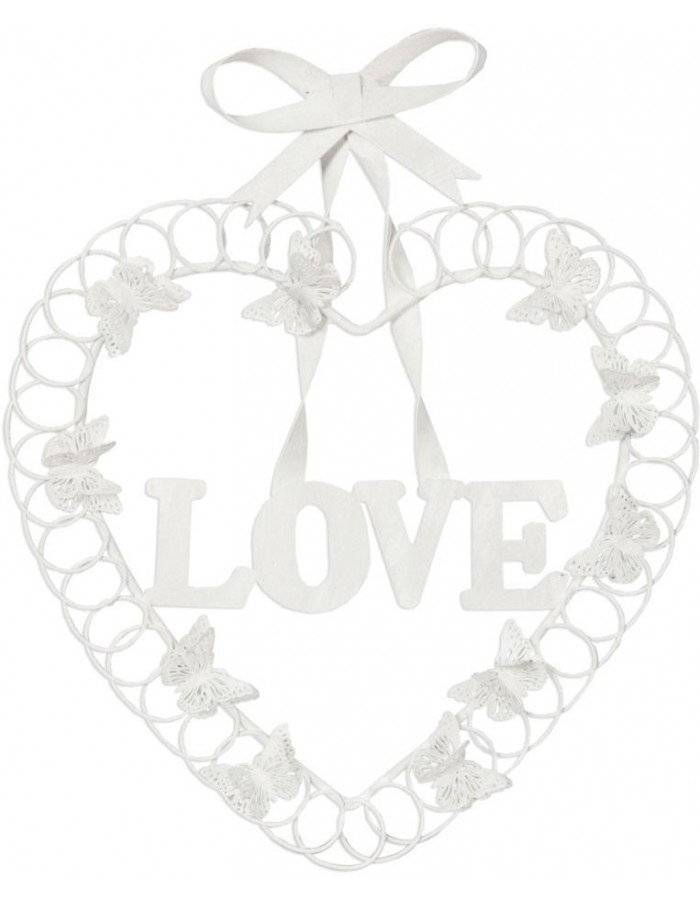 heart-shaped decoration - white 26x32 cm