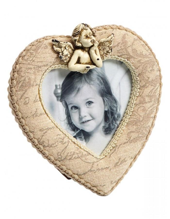 Angel Fotorahmen mit Stoffbespannung und Engel in Herzform