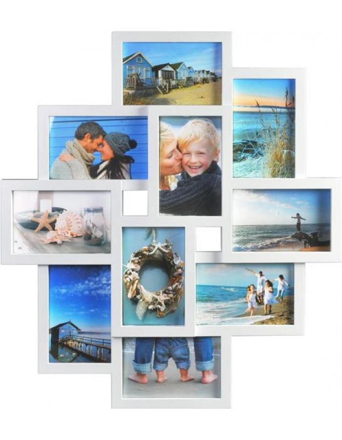 Galerie-Bilderrahmen Rahmen für 10 Bilder in weiß