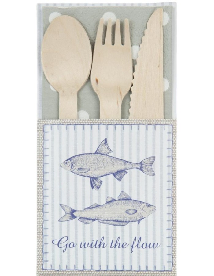 wooden cutlery set FISH with paper case
