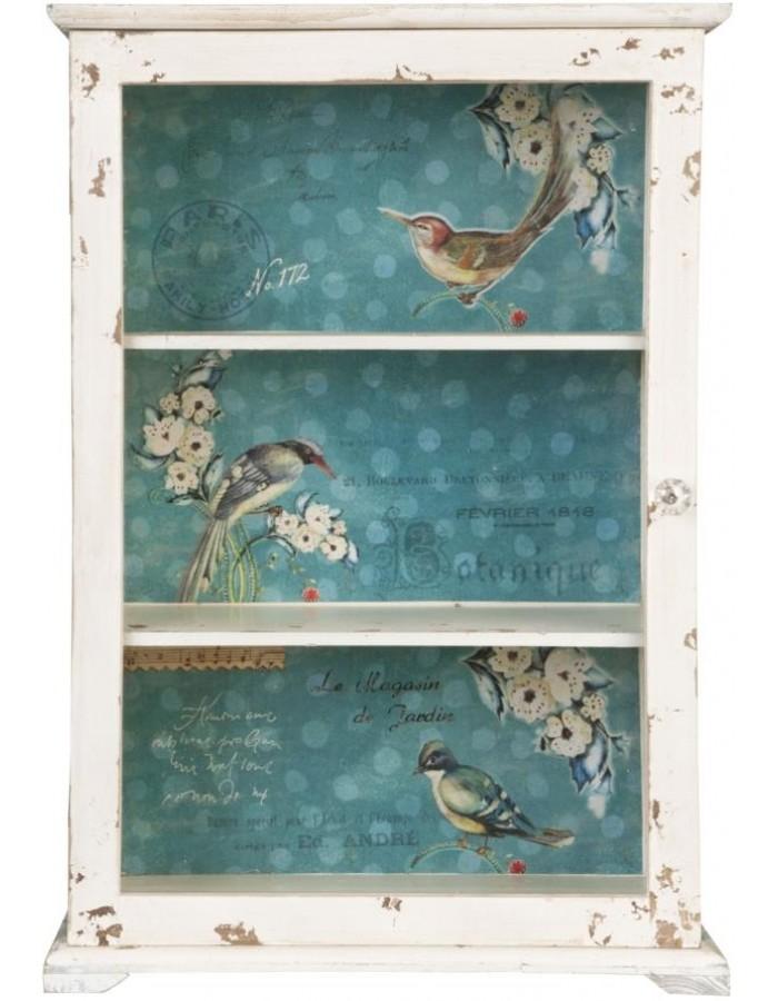clayre eef holzschrank antik wei mit vogelmotiv 47x21x69 cm fotoalben. Black Bedroom Furniture Sets. Home Design Ideas