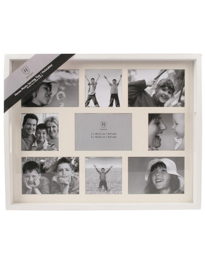 Woooden picture tray - 9 photos - white