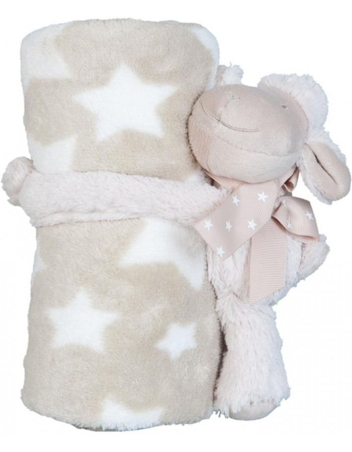 KT060.032 Clayre Eef plaid with plush sheep beige