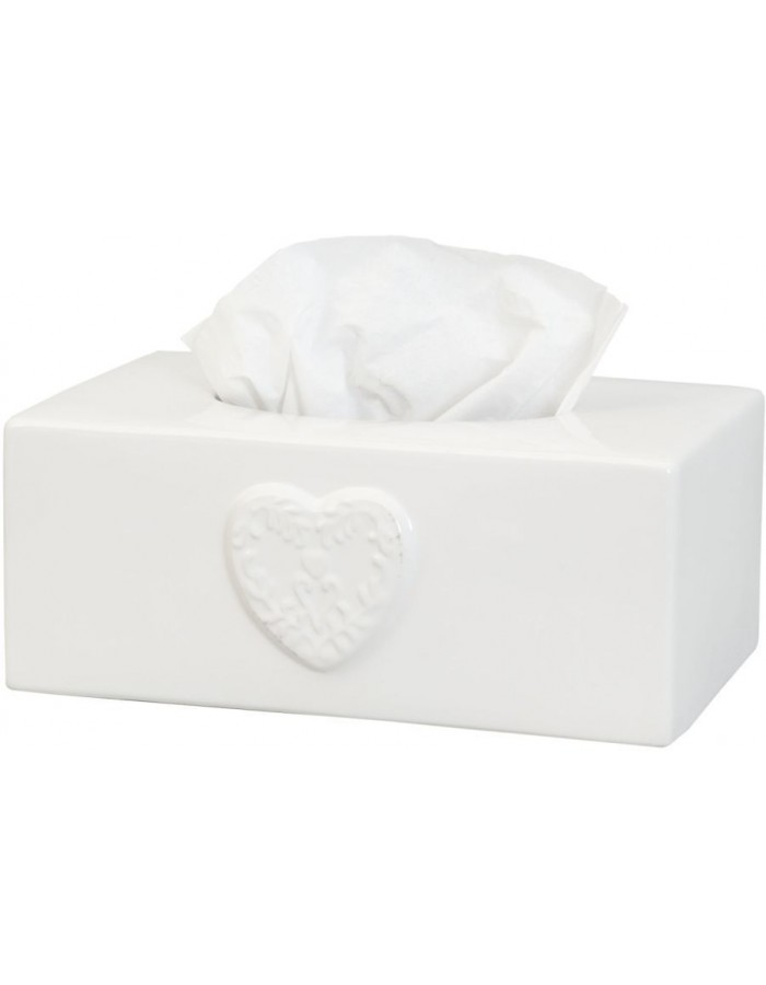 Ceramic tissue box 24x14x10 cm white